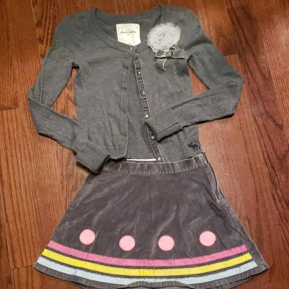 abercrombie kids Other - Abercrombie girls sweater and Crazy 8 gray skirt